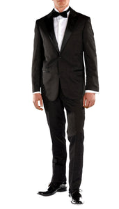Crisp Black Slim Fit Peak Lapel 2 Piece Tuxedo - Ferrecci USA