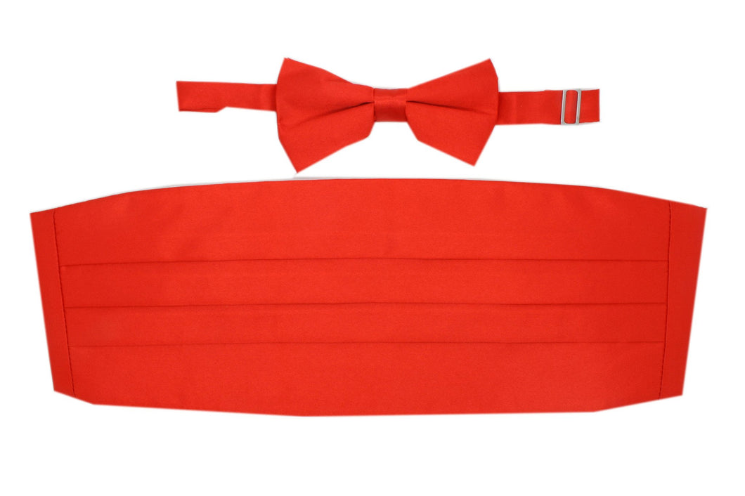 Satine Red Bow Tie & Cummerbund Set - Ferrecci USA
