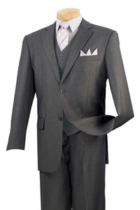 Three Piece Classic Fit Vested Suit Color Heather Gray