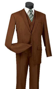 Three Piece Classic Fit Vested Suit Color Cognac