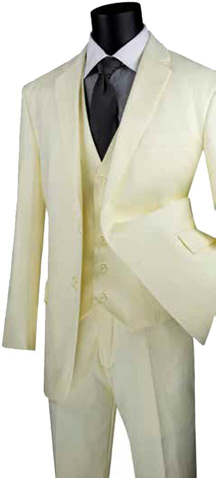 Three Piece Classic Fit Vested Suit Color Ivory