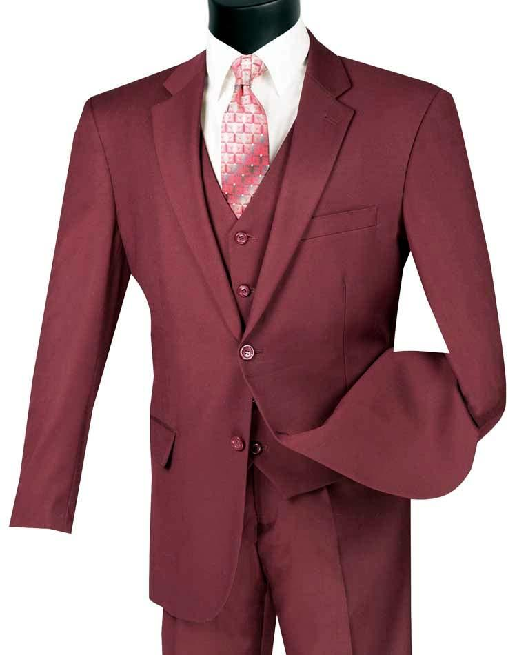 Three Piece Classic Fit Vested Suit Color Maroon