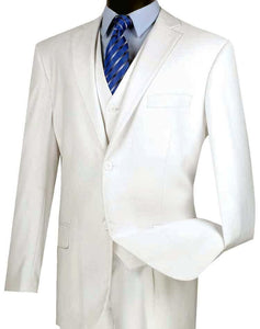 Three Piece Classic Fit Vested Suit Color White