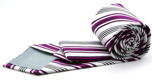 Mens Dads Classic Fuchsia Striped Pattern Business Casual Necktie & Hanky Set D-10 - Ferrecci USA