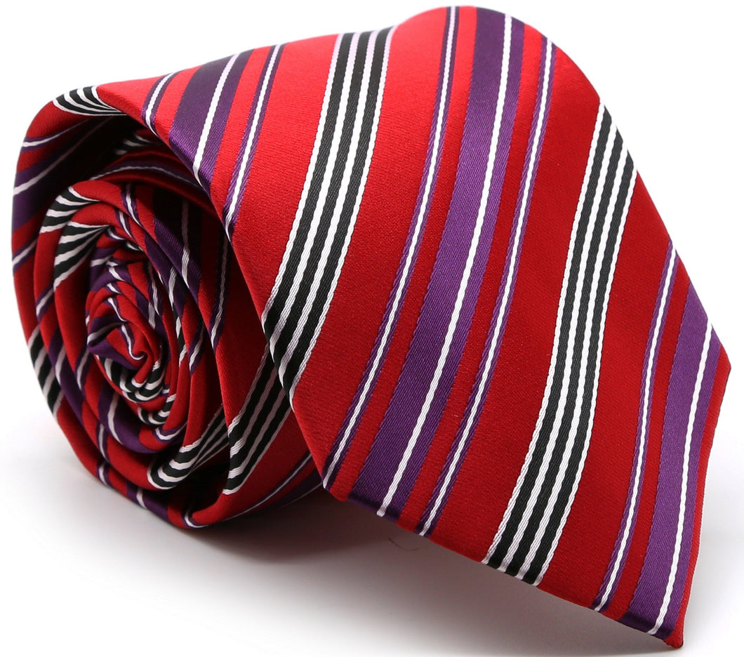 Mens Dads Classic Red Striped Pattern Business Casual Necktie & Hanky Set D-5 - Ferrecci USA