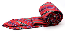 Load image into Gallery viewer, Mens Dads Classic Red Striped Pattern Business Casual Necktie & Hanky Set D-5 - Ferrecci USA