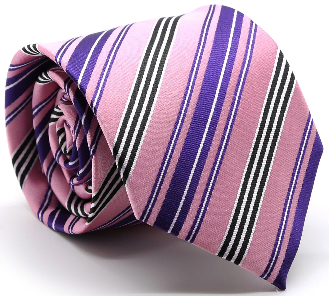 Mens Dads Classic Pink Striped Pattern Business Casual Necktie & Hanky Set D-6 - Ferrecci USA