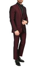 Load image into Gallery viewer, Mens Daxson Burgundy Slim Fit Shawl Collar 3pc Tuxedo - Ferrecci USA