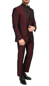Mens Daxson Burgundy Slim Fit Shawl Collar 3pc Tuxedo - Ferrecci USA