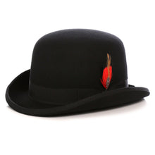Load image into Gallery viewer, Premium Wool Black Derby Bowler Hat - Ferrecci USA