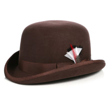 Load image into Gallery viewer, Premium Wool Chocolate Brown Derby Bowler Hat - Ferrecci USA