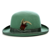 Load image into Gallery viewer, Premium Wool Hunter Green Derby Bowler Hat - Ferrecci USA