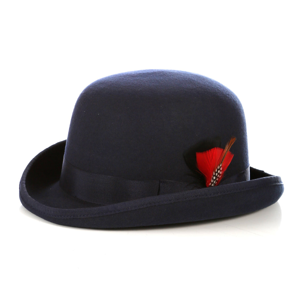 Premium Wool Navy Blue Derby Bowler Hat - Ferrecci USA