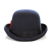 Load image into Gallery viewer, Premium Wool Navy Blue Derby Bowler Hat - Ferrecci USA