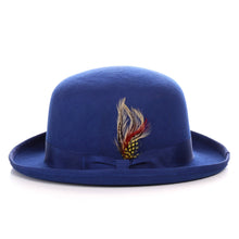 Load image into Gallery viewer, Premium Wool Royal Blue Derby Bowler Hat - Ferrecci USA