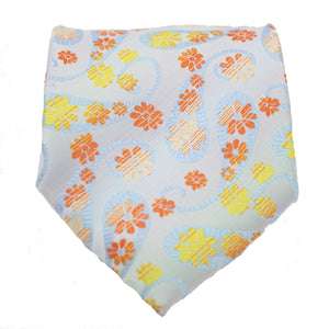 Mens Dads Classic Yellow Floral Pattern Business Casual Necktie & Hanky Set DF-2 - Ferrecci USA