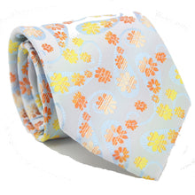 Load image into Gallery viewer, Mens Dads Classic Yellow Floral Pattern Business Casual Necktie & Hanky Set DF-2 - Ferrecci USA