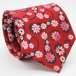 Mens Dads Classic Red Floral Pattern Business Casual Necktie & Hanky Set DF-4 - Ferrecci USA