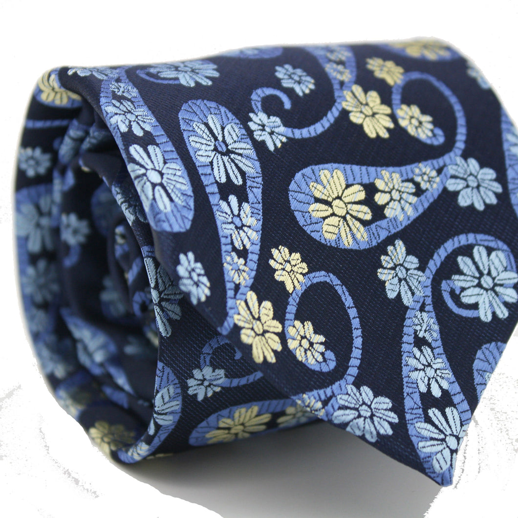 Mens Dads Classic Navy Floral Pattern Business Casual Necktie & Hanky Set DF-5 - Ferrecci USA