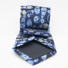 Load image into Gallery viewer, Mens Dads Classic Navy Floral Pattern Business Casual Necktie & Hanky Set DF-5 - Ferrecci USA