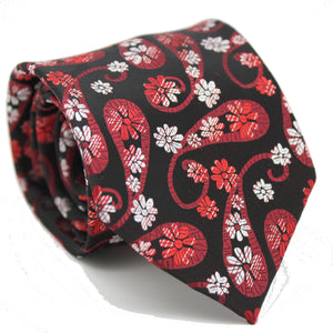 Mens Dads Classic Red Floral Pattern Business Casual Necktie & Hanky Set DF-7 - Ferrecci USA