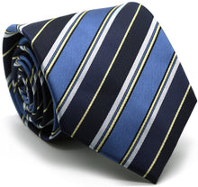Load image into Gallery viewer, Mens Dads Classic Navy Striped Pattern Business Casual Necktie & Hanky Set DO-1 - Ferrecci USA