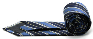 Mens Dads Classic Navy Striped Pattern Business Casual Necktie & Hanky Set DO-1 - Ferrecci USA
