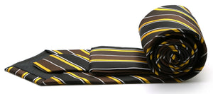 Mens Dads Classic Green Striped Pattern Business Casual Necktie & Hanky Set DO-3 - Ferrecci USA