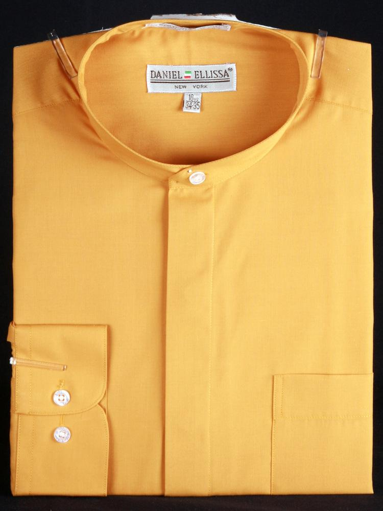 Banded Collar Dress Shirt-Mustard