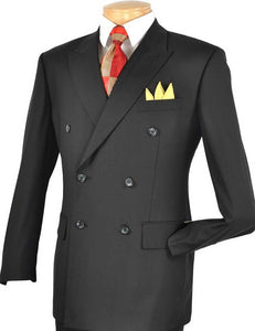 Men's Executive Double Breasted Suit Solid Black