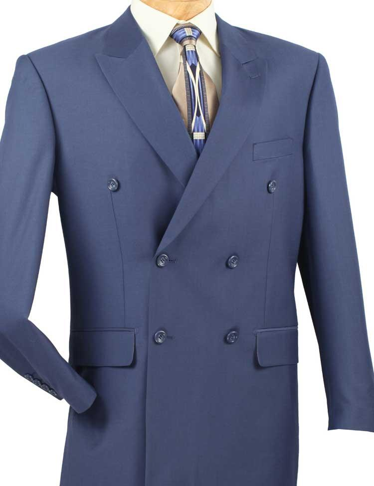 Men's Executive Double Breasted Suit Solid Blue