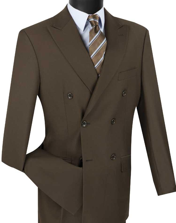 Men's Executive Double Breasted Suit Solid Brown