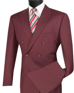 Men's Executive Double Breasted Suit Solid Burgundy