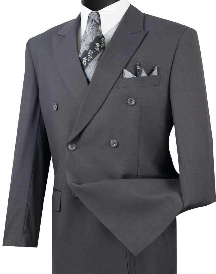 Men's Executive Double Breasted Suit Solid Heather Gray