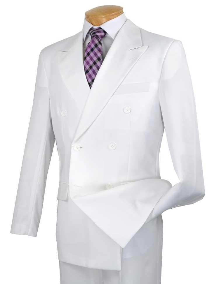 Men's Executive Double Breasted Suit Solid White