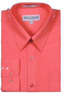 Men's Basic Dress Shirt  with Convertible Cuff -Color Coral