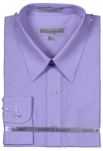 Men's Basic Dress Shirt  with Convertible Cuff -Color Lilac