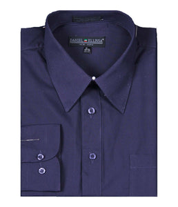 Men's Basic Dress Shirt  with Convertible Cuff -Color Plum