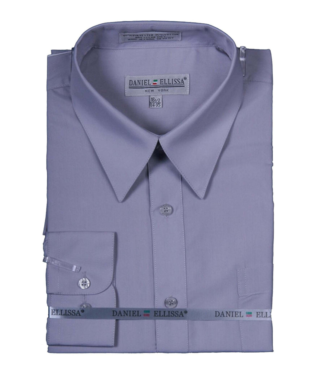 Men's Basic Dress Shirt  with Convertible Cuff -Color Silver