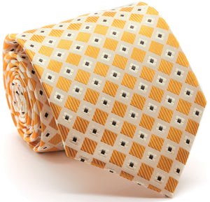 Mens Dads Classic Gold Geometric Pattern Business Casual Necktie & Hanky Set E-4 - Ferrecci USA