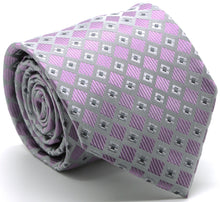 Load image into Gallery viewer, Mens Dads Classic Purple Geometric Pattern Business Casual Necktie & Hanky Set E-7 - Ferrecci USA