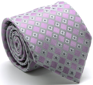 Mens Dads Classic Purple Geometric Pattern Business Casual Necktie & Hanky Set E-7 - Ferrecci USA