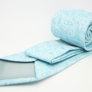 Mens Dads Classic Turquoise Paisley Pattern Business Casual Necktie & Hanky Set EF-1 - Ferrecci USA