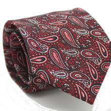 Load image into Gallery viewer, Mens Dads Classic Red Paisley Pattern Business Casual Necktie & Hanky Set EF-3 - Ferrecci USA