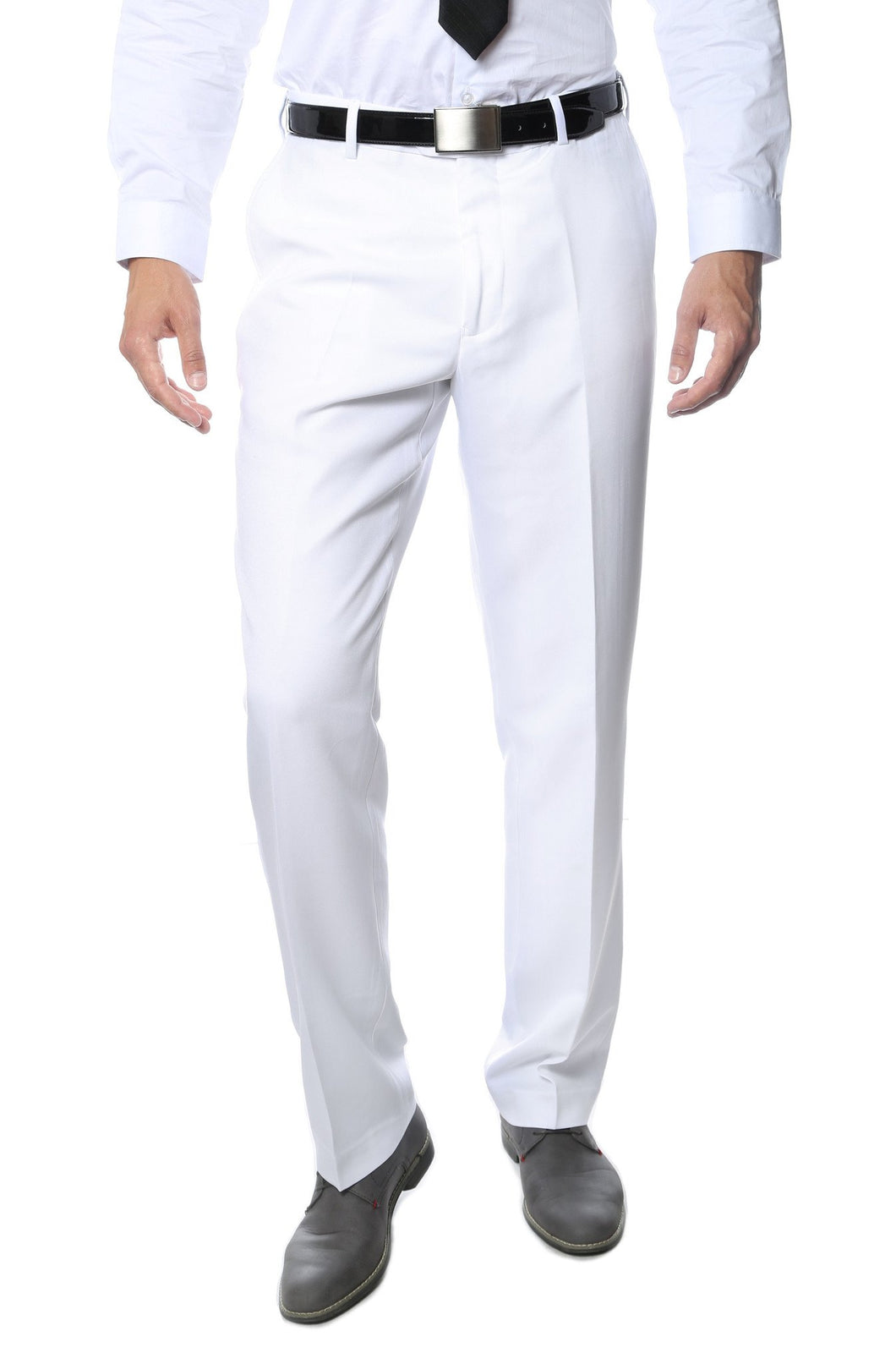 Premium White Regular Fit Suspender Ready Formal & Business Pants - Ferrecci USA