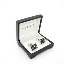 Load image into Gallery viewer, Silvertone Black Dot Design Cuff Links With Jewelry Box - Ferrecci USA
