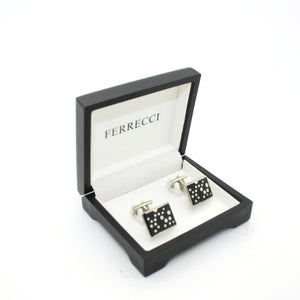 Silvertone Black Dot Design Cuff Links With Jewelry Box - Ferrecci USA