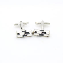 Load image into Gallery viewer, Silvertone Black & White Cuff Links With Jewelry Box - Ferrecci USA