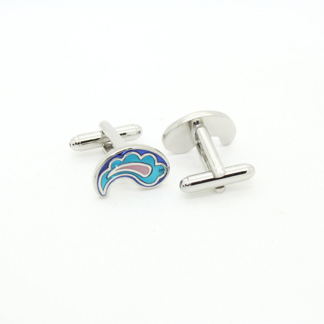 Silvertone Paisley Design Cuff Links With Jewelry Box - Ferrecci USA