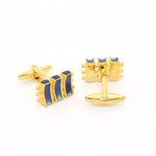 Load image into Gallery viewer, Goldtone Aqua Blue Criss Cross Cuff Links With Jewelry Box - Ferrecci USA
